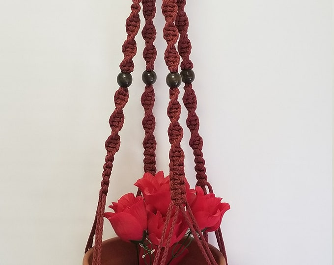 MACRAME Plant Hanger 36 inch Deluxe Style with BEADS - Cranberry Cord (Choose Cord Color)