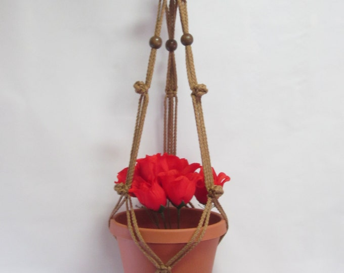 MACRAME Plant Hanger 35 in Simple 3-Arm BUTTON KNOTS 6mm with Beads (Choose Color Cord)