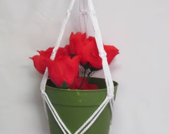 Macrame Plant Hanger 20 in FRIENDSHIP - White  (Choose Color)