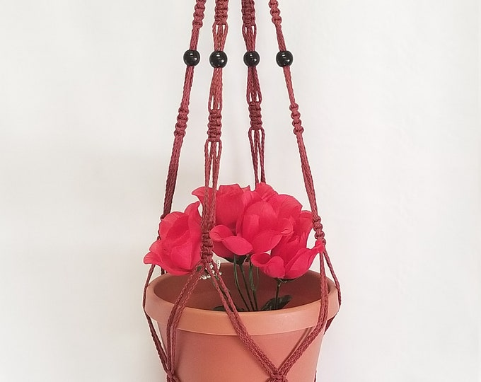 Macrame Plant Hanger Vintage Style 4mm, 36 inch Cranberry with BEADS - Choose Cord Color