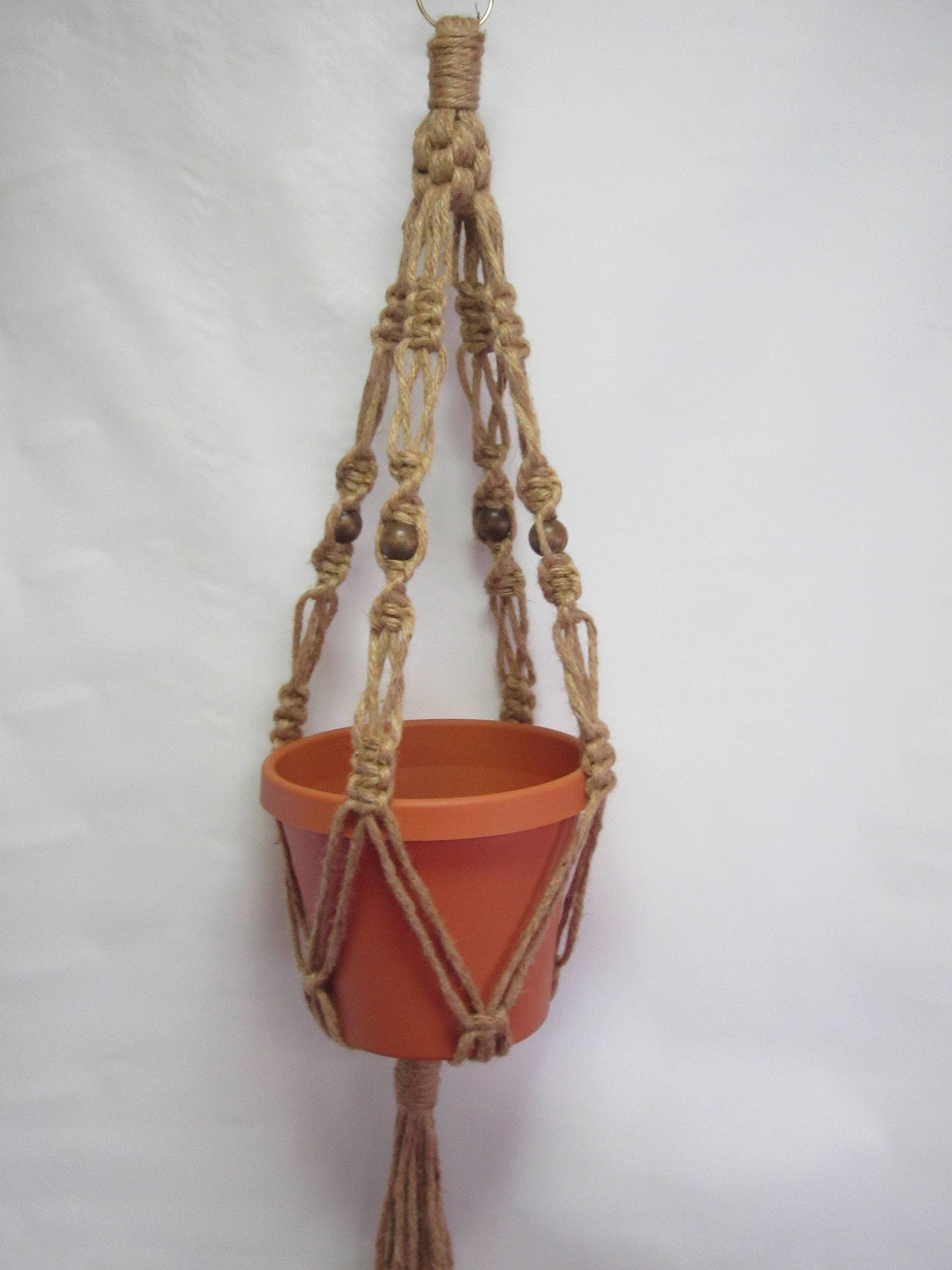 Macrame Plant Hanger ALL NATURAL JUTE Vintage Crown Style 30 inch