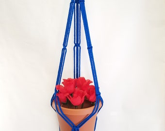 Macrame Plant Hanger 35in SIMPLE 3-ARM 6mm - Royal Blue