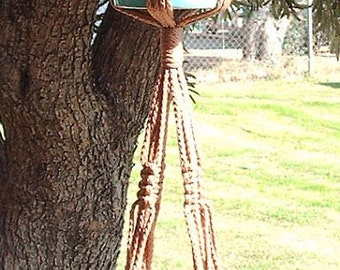 Macrame Plant Hanger 2-TIER 4mm  38in Cinnamon - Double Hanger