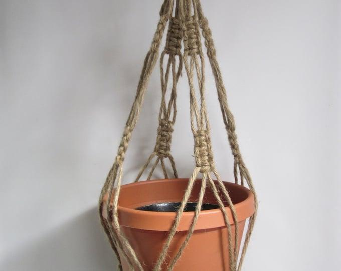 Macrame Plant Hanger 28 inch Natural heavy Jute Vintage Style