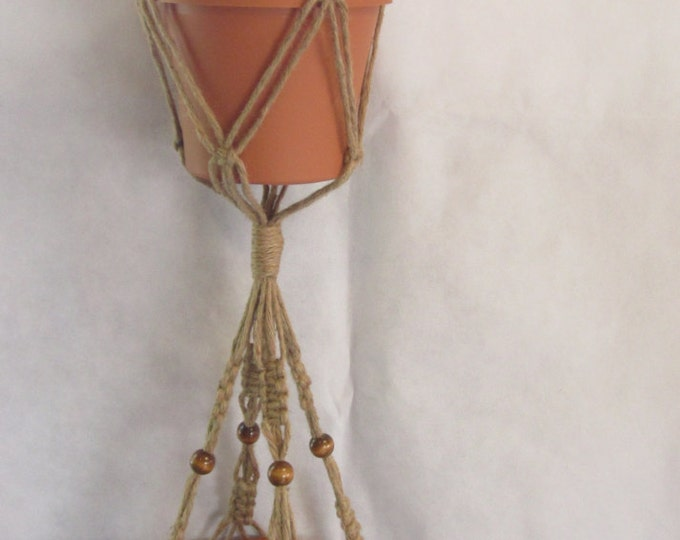 Macrame Plant Hanger 50 Inch 2-TIER 6 PLY All Natural JUTE  With Beads - Double Hanger
