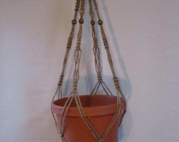Macrame Plant Hanger Natural Jute Vintage Style 30 inch with Beads