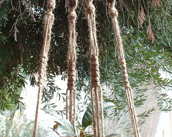 Macrame Plant Hanger 58 Inch Natural Jute Vintage Style 8 Beads