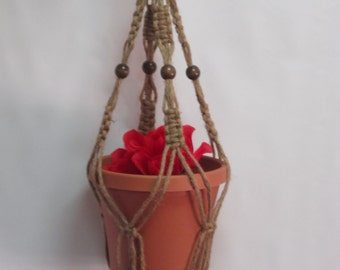 Macrame Plant Hanger 28 Inch Natural heavy Jute Vintage Style with BEADS