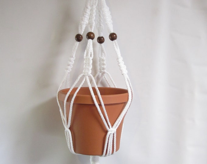 Macrame Plant Hanger 28 inch Vintage Style Beaded strong 6mm White Cord (Choose Cord Color)