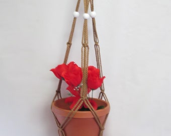 Macrame Plant Hanger 35 in SIMPLE 3-ARM 6mm -Sand with White Beads (Choose Cord Color)
