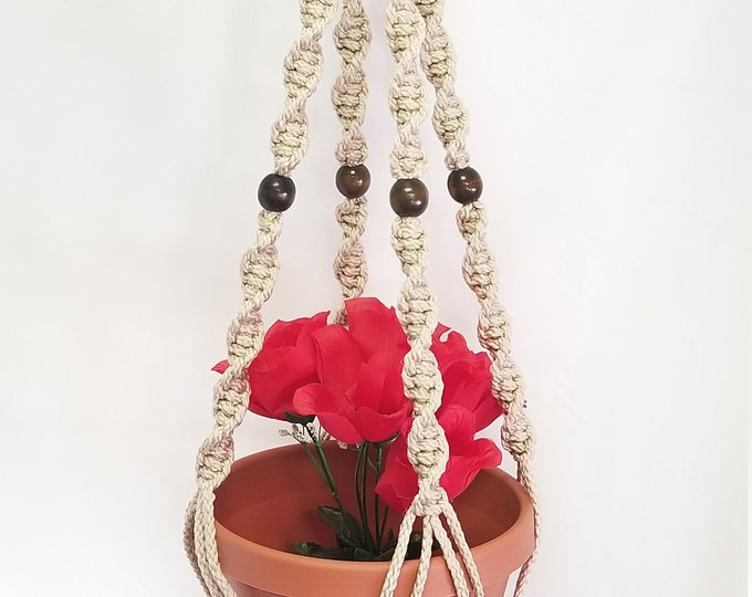 MACRAME Plant Hanger 32 in Deluxe Style with BEADS - Pearl Cord (Choose Cord Color)