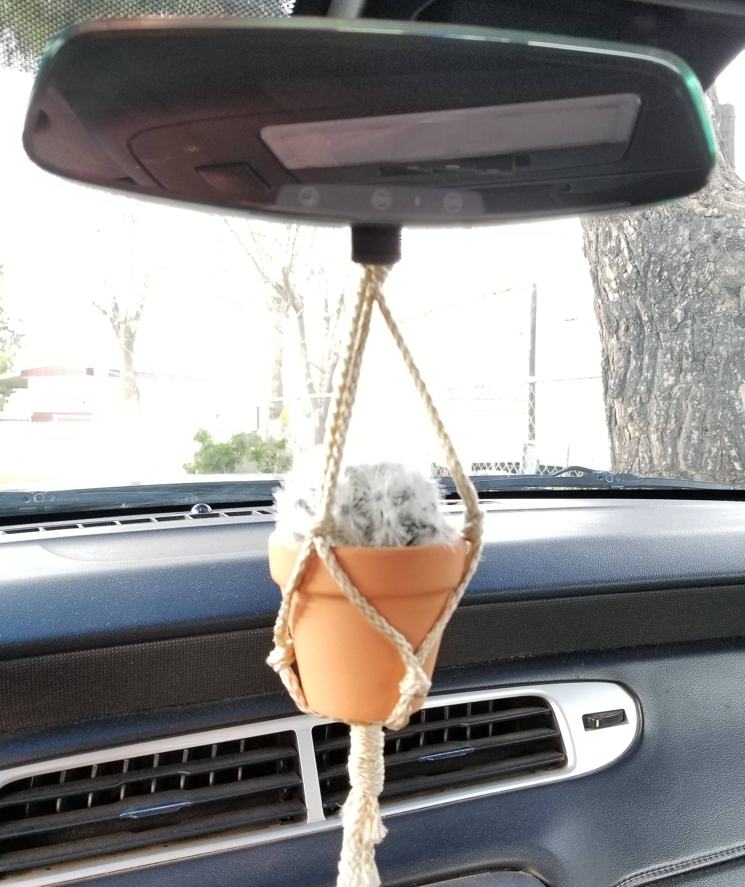 Mini Macrame Plant Hanger 10 Inch Car Mirror Hanger Includes Pot
