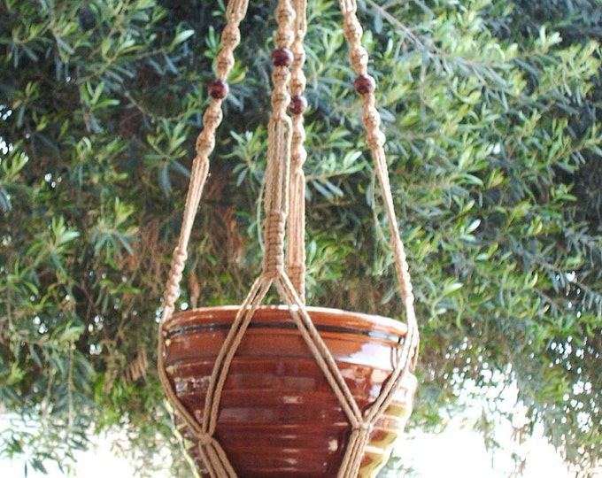 MACRAME PLANT HANGER 48 Inch Vintage Style 6mm Sand color with Beads - Choose Cord Color