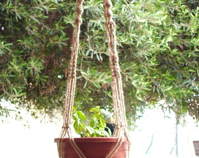 Macrame Plant Hanger 58 Inch Natural Jute Vintage Style