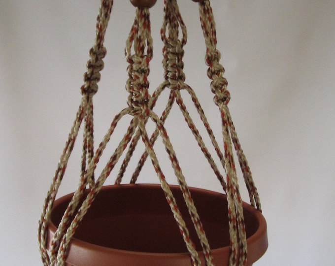 Macrame Plant Hanger Vintage Style 4mm, 24 inch with BEADS AllSpice Cord  (Choose Cord Color)