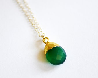 Green Onyx Gold Necklace, Gemstone Necklace, Dainty Necklace, Layering Necklace, Gold Necklace