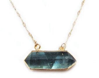 Rainbow Fluorite Point Necklace-layering necklace, gold necklace, gemstone necklace, boho, statement necklace