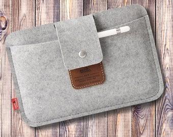 iPad mini 6 / 5 felt sleeve with pencil holder made of 100% wool felt