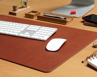 Desk mat, leather desk pad, blotter, mens gift, leather mouse pad with anti slip backside of natural rubber