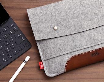 "iPad 9.7"" (2018)  Case cover Sleeve 100% Wool Felt, Vegetable Tanned Leather"