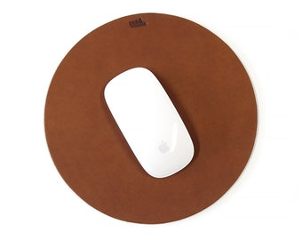 Leather Mouse Pad Round, 100% vegetable tanned leather natural rubber