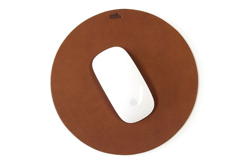 Leather Mouse Pad Round 100% vegetable tanned leather natural Light Brown (MP-LB)