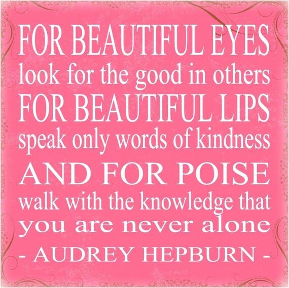 Shakespeare Quotes On Beautiful Eyes: Items Similar To Audrey Hepburn For BEAUTIFUL EYES 12 X 12