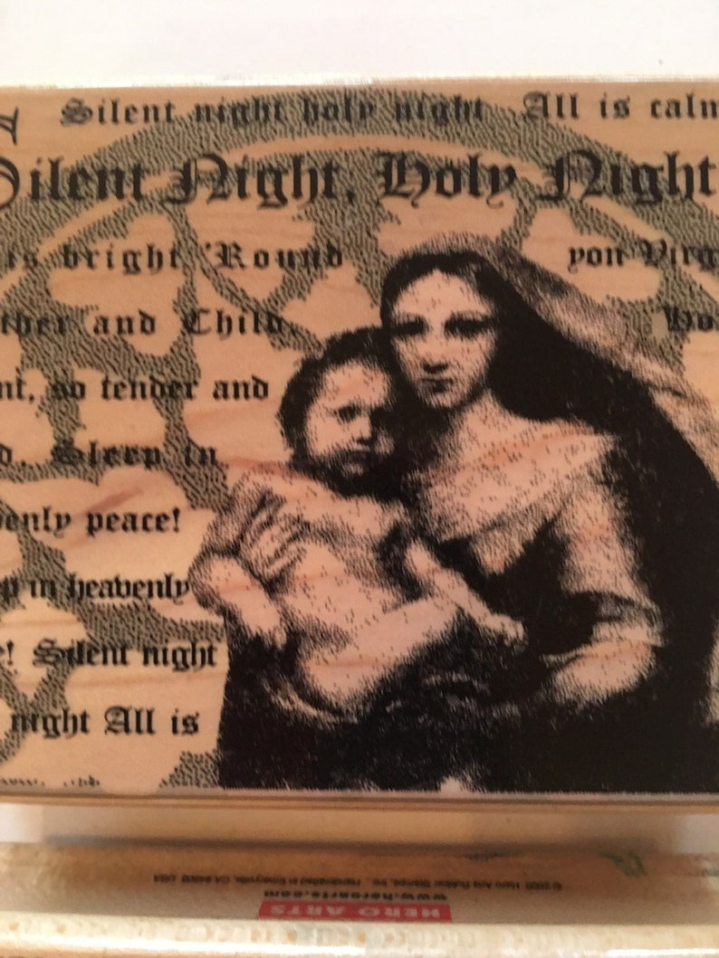 Vintage Hero Arts peace on earth madonna and child rubber stamp  silent night holy night stamp Used Set of 2 Christmas card making
