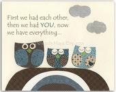 Baby Boy Owl Room Art - B...