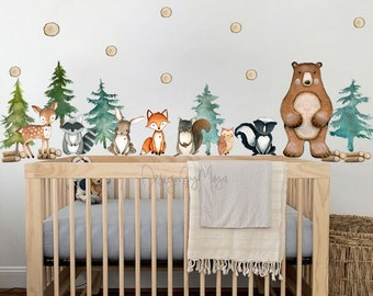 Forest animals Wall Decals for nursery woodland animals Wall Decals for nursery forest wall decal tree wall decal for nursery kcik1763