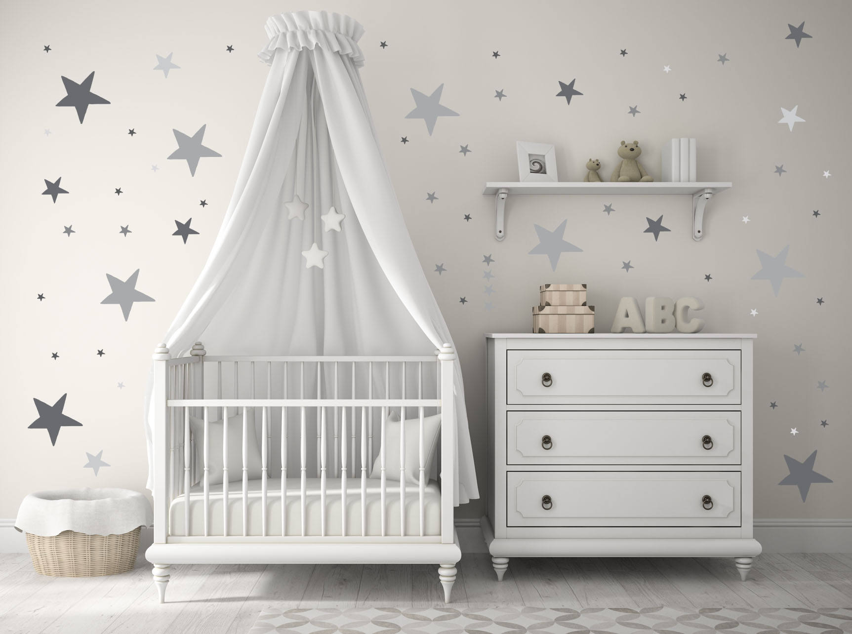 Nursery Decor Baby Nursery Wall Decals Gray Grey Stars | Etsy