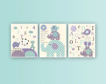 Baby girl Room Decor Nursery art print Set of 3 prints match Brooklyn Kids room art Purple Lavender Aqua Mint Baby girl art Nursery decor