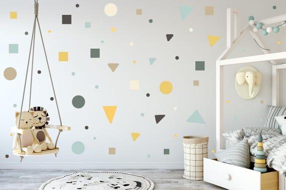 Kinderzimmer Kindergarten Wandaufkleber, grau, gelb, Mint, Polka Dots,  quadratische Aufkleber, Dreieck Aufkleber, Kinder Wand aufkleber moderne ...