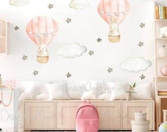 Bunny Balloon Watercolor Nursery Coral decals Baby Girl Wall art Balloon sticker Wall Decor Girl room Decals Hot air Balloon clings Decor