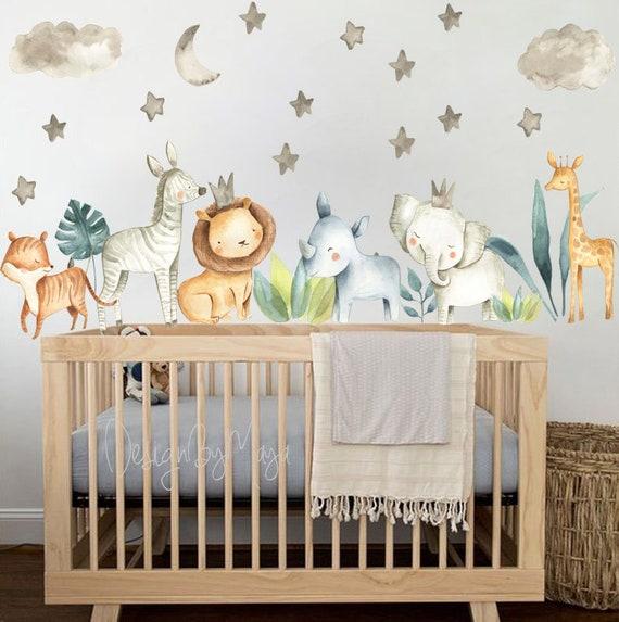Baby Room Wall Decor Watercolor Safari Wall Stickers Baby Boy | Etsy