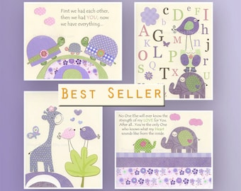 Baby girl Room Decor Nursery wall Art prints Match to Carters Elephant patches bedding Lavender Green Purple Lime ABC No one else room art