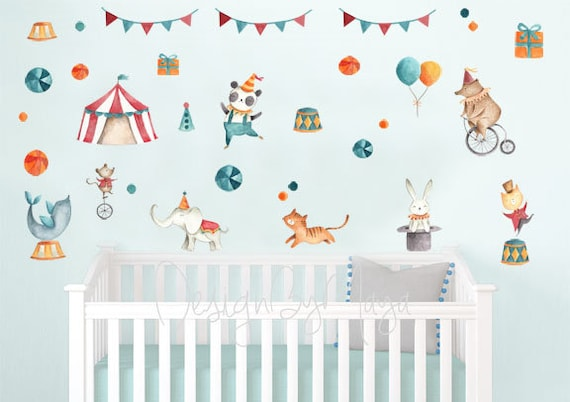 circus decals nursery wall decals circus murals wall decor | etsy