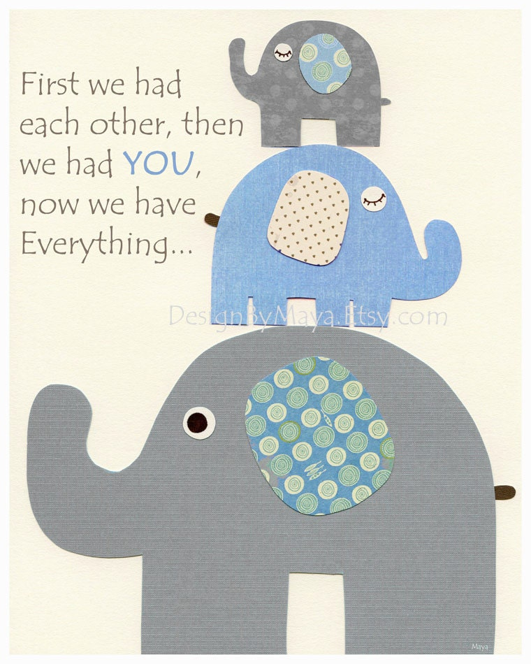 Baby Boy Nursery Decor Nursery Print Baby Elephant First We Etsy