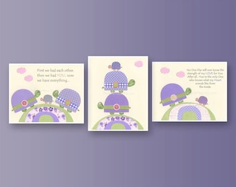 Baby girl Room Decor, Nursery wall Art prints, set of 3 prints, match carters turtle patches bedding, lavender, green, no one, baby turtle