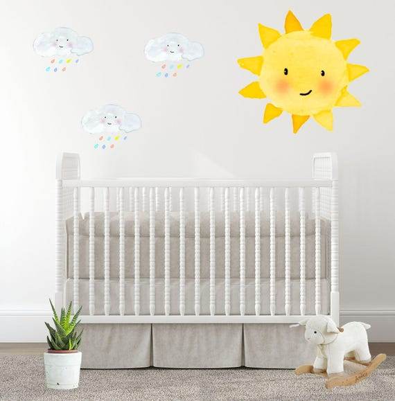 baby room decal nursery wall decals sunshine sun rainbow | etsy