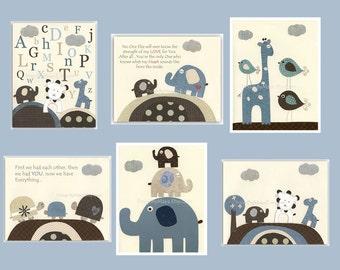 Kids Wall Art, Nursery Art Print, Baby Boy Nursery Art // Elephants Lion Turtles Birds Giraffe // Colors Blue Brown // Set of 6 Prints