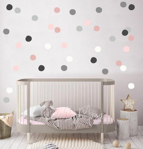 Nursery Decals Girl Nursery Wall Decal Gray Pink Polka Etsy