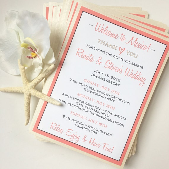 Destination Wedding Invitation Welcome Cards For Destination Wedding Thank You Card Guest Bag Note Wedding Itinerary