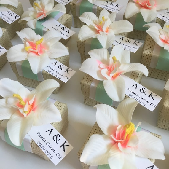 Organic Woven Favor Box With Orchid Accent Tropical Wedding Etsy