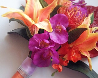 Tropical Bridal Bouquet, Silk Bridal Bouquet