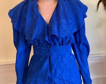 Sz 4 Royal Blue Ruffle Vintage 1980s Two-Piece Dress by Levanté