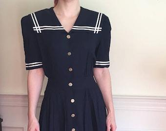 Sz S/M Vintage 1980s Navy Blue Ankle-length Retro Sailor Dress w/ Pockets!