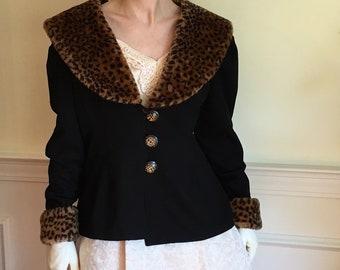 Sz 12 Cheetah Faux Fur Black Ponte Knit 1980s Jacket