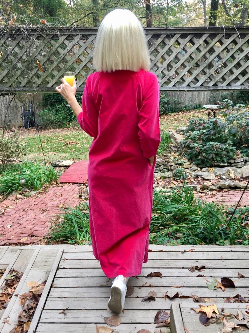 Sz 10 Raspberry 60s70s Velvet Maxi Hostess Dress by Barbara Lee