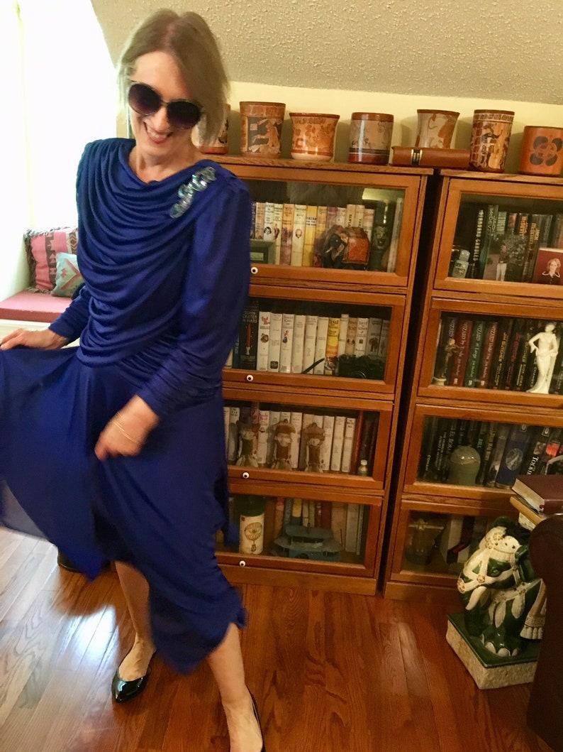 Sz 8 Cobalt Blue Ruched 80s Retro 40s Dress by Filigree